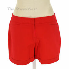 APT. 9 Women's Size 14 SOLID RED SHORTS with CUFFS Mid Thigh FLAT FRONT Mid Rise