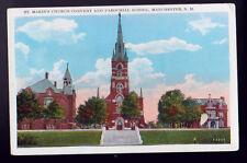 MANCHESTER NEW HAMPSHIRE NH St. Marie's Church Convent Parochial School Postcard