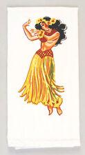 Hula Girl Tea Towel Dish Cloth 50s Rockabilly PinUp Vintage Lei Hawaii Tiki