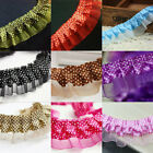 5M 2-layer Dot Lace Edge Trim Gathered Pleated Satin Ribbon Sewing DIY Craft