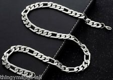 Heavy Mens 50cm Stainless Steel Necklace Silver Curb Link Chain Figaro Chunky