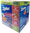 Ziploc Variety Pack Gallon, Quart, Snack & Sandwich Storage 347 Bags
