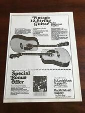 1977 VINTAGE 8.25X10.75 PRINT Ad FOR THE 12 STRING ALVAREZ-YAIRI ACOUSTIC Guitar