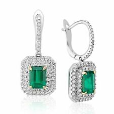 Certified 2.15CT Emerald Green Diamond Double Halo Engagement Earrings 14K Gold