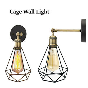 Vintage Retro Industrial Loft Rustic Wall Sconce Cage Wall Lights Porch Lamp UK