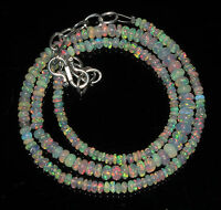 """Ethiopian welo Fire Opal Beads 3 to 5 mm 16"""" + 3"""" 925 silver chain necklace"""
