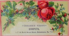1870's-80's Victorian Trade Card Benjamin Green Carpets Roses Wildflowers P42