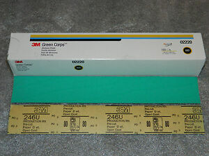"""NEW 3M 02220 GREEN CORPS PRODUCTION PAPER ABRASIVE 100 SHEETS GRADE 80D 17.5"""""""