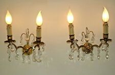 Beautiful Pair French Vintage Cast Bronze Double Wall Lights With Crystals 2059