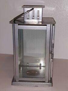 "BEL AIR LIGHTING Tea-Light Metal LANTERN STYLE Lamp CANDLE HOLDER Silver 8.25""H"