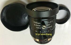 """Camera Lens 5MegaPixels Focal Length 8mm F1.6-F16 C Mount FOV 40° Format 2/3"""""""