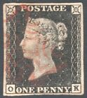 GREAT BRITAIN, QV, 1840 PENNY BLACK O-K, 4 MARGIN, NO FAULTS VERY FINE USED