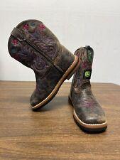 John Deere Toddler Cowboy Boots Pink Flower Girl Size 7.5