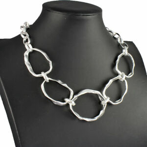 Chunky graduated hammered silver colour statement choker necklace jewellery