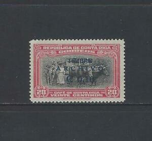 COSTA RICA COFFEE,OXCART,SURCHARGED TIMBRE ARCHIVO in BLUE, MENA PR25 MNH 1949