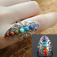 925 Silver 7 Chakra Healing Stones Hollow Adjustable Ring Thumb  Reiki Gem Ring