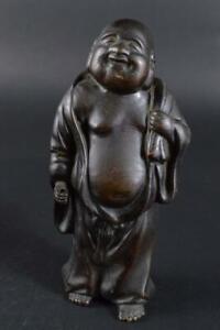 #2128: Japanese Old Copper HOTEI STATUE sculpture Ornament Figurines Okimono