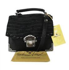 "**PATRICIA NASH ""STELLA"" Zebra Black Italian Leather Shoulder Bag Msrp $269.00"