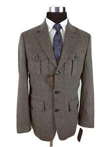 Tasso Elba Men's Charcoal Brown Three Button Sport Coat Hunting Jacket S 36/38R