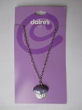 "dd 16"" cupcake purple pendant glitter NECKLACE Claires silver tone chain jewelry"