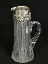 ANTIQUE CUT GLASS w/ ACORN OAK BAILEY BANKS & BIDDLE STERLING CLARET PITCHER JUG