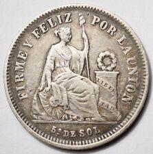 PEROU : 1/5e SOL ARGENT 1866