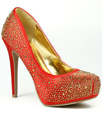 Red Satin Jeweled Square Toe High Stiletto Heel Platform Pump Vigo Fiore