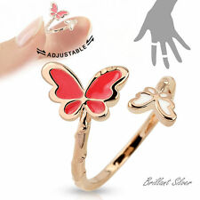 Fingerring Rosegold Schmetterling Weiss & Pink Ring Verstellbar One Size