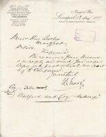 Letter From H.E. Moss & Co Ltd 1889 Ship Brokers L/Pool to Hine Bros Ref 35893