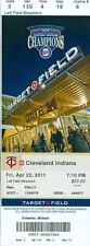 2011 Minnesota Twins vs Cleveland Indians Ticket