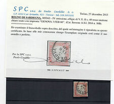 ANTICHI STATI 1860 SARDEGNA 40 C. ROSSO MATTONE GENOVA  3/2 C/9784