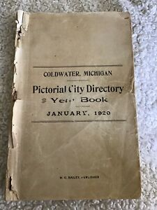 Coldwater Michigan City Directory 1920 Gd Cond. Mich MI