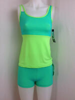 Body Wrappers Teal & Green Dance Hot Shorts & Camisole Top, Adult M, New