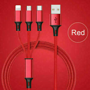 Universal 3 in 1 Multi USB Cable Fast Charger Type C Lead For IOS, Samsung Phone