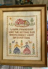 Vtg. Handmade Cross Stitch Sampler Friendship Completed & Framed
