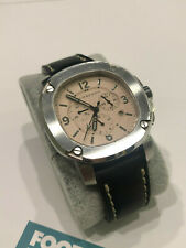 MEN BURBERRY THE BRITAIN SWISS WATCH SILVER IVORY BLACK LEATHER STRAP 47 BBY1101