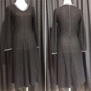Vintage 70s Goldworm Dress Black Sweater Knit A-Line Women's M 1970s vtg