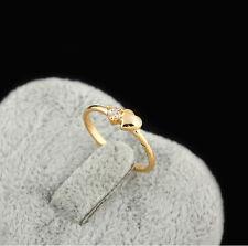 18K Yellow Gold Plated Zircon Heart Love  Rings Women Jewelry