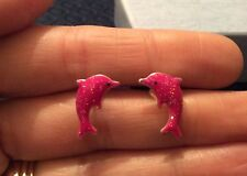 Silver Plated Stud Earrings Costume Jewellery Free Gift Bag Pink Dolphin Fish