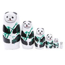 6Pcs/Lots Wooden Panda Russian Nesting Dolls Matryoshka Doll Children Education