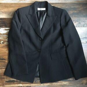 Tahari Arthur Levine Blazer Women's 8P Petite Black Pinstripe Lined 3-Button