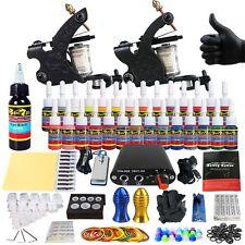 Starter Tattoo Kits 2 Tattoo Machine Guns Set 28Ink Power Pack Grip TK204-40