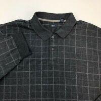 Arrow Polo Shirt Men's Size 2XL XXL Long Sleeve Gray Plaid Casual Cotton Blend
