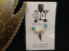Wine Glass Charm - Single / Beaded - Angel Wing (Blue / White)