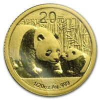 2011 ~ .999  PURE GOLD ~ CHINA PANDA COIN ~ 1/20 OUNCE ~MINT SEALED ~ GEM GOLD !