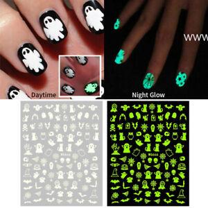 Luminous 3D Nail Sticker Skull Pumpkin Hat Halloween Nail Art Decals Manicure