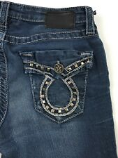 Big Star Miki Embellished Bootcut Thick Stitch Distressed Blue Jeans Womens 28S