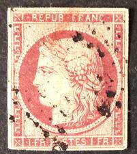 Timbre France, n°6, 1f carmun, Obl, B, cote 950e. Très. Belle présentation