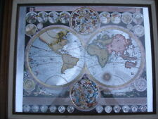 ANTIQUE OLD WORLD GLOBE MAP FRAMED with MAT PICTURE  BEAUTIFUL