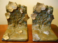 ANTIQUE SIGNED MCCLELLAND BARCLAY BRONZE IVY VINE BOOKENDS GREAT PATINA RARE